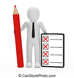 businessman hold pencil checklist