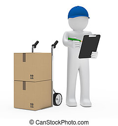 man with hand truck and checklist - package man with hand...