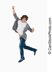 Male student dancing