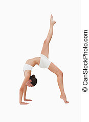 Woman in gymnastic position