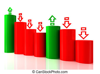 Falling bar chart from color blocks on white background