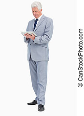 Boss using a touch Pad against white background