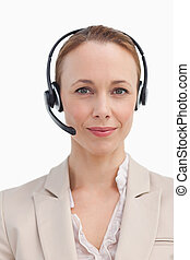 Portrait of a businesswoman wearing a headset