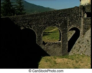 Melfi castle and moat pan - The ancient roman castle in the...