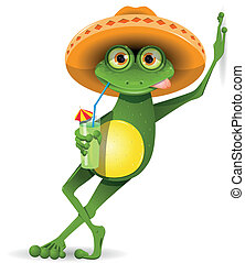 Frog in a hat - green frog in a sombrero and a cocktail
