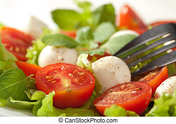 salad with tomatoes and mozzarella
