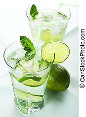 two glasses of fresh mojito