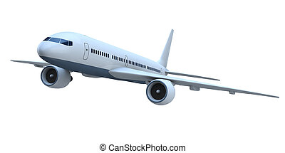 Jetliner - 3D model of flying passenger aircraft isolated on...