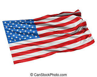 USA flag waving in the wind. - Realistic 3d seamless looping...
