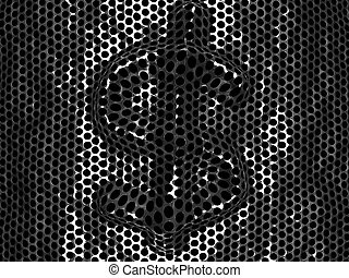 Punched metal grid with convex dollar element