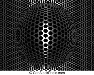 Punched metal grid with convex spherical element