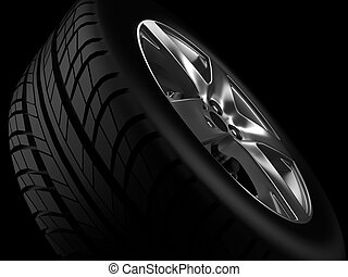 Automotive Wheel Or Tyre - Background closeup automotive...