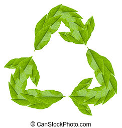 Recycling symbol on white
