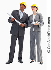Businessman and woman with notes and hard hats - A...
