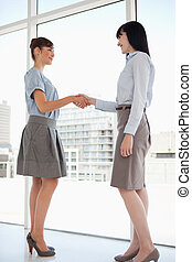 Both women smiling as they shake hands - Two women with...