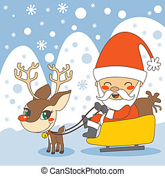 Santas sleigh - Santa in his sleigh and Rudolph the red...