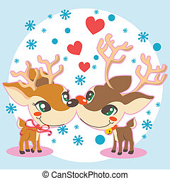 Reindeer Christmas Love - Rudolph and female reindeer...