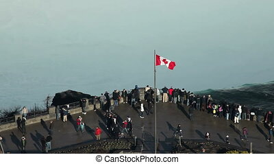 Visitors at Niagara fall aerial - Canadian horseshoe Niagara...