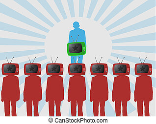one person is watching TV. vector illustration background