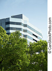 commercial building with tree