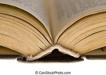 abierto, viejo, libro, aislado