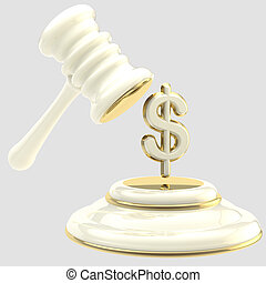 Penalty: gavel breaking dollar sign - Penalty and fine...