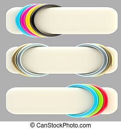 Set of three banner templates isolated