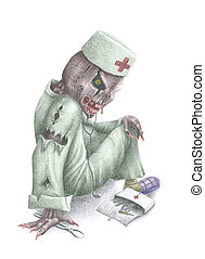 Dr Death - pencil sketch sitting on the ground of...