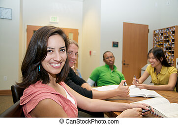 University students - Group of Multicultural Students...