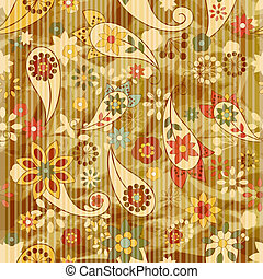 vector seamless floral wallpaper on striped background,