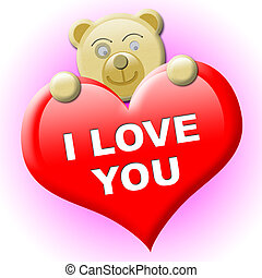 A little brown bear with heart for valentines day - Several...