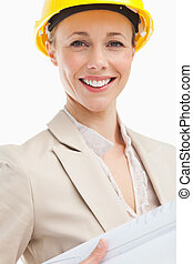Portrait of a woman architect against white background