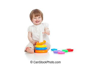 玩具, 鮮艷, 被隔离, 快樂, 孩子, 白色, 玩