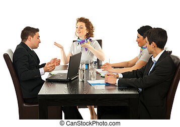 Cheerful business people communication - Business woman...