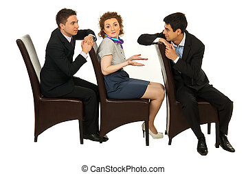 Confused woman between men discussion - Confused business...