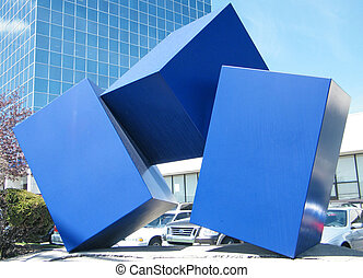 Toronto Blue Geometry - Blue Geometry in Finch Ave of...