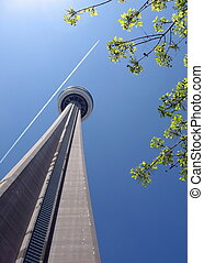 Looking up toward the top of the CN Tower - Toronto,...