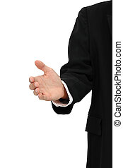 Hand of business man try to invite on white background.