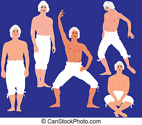 man in a bare-chested in pants - a man in a bare-chested in...