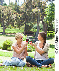 Friends clink glasses of wine in the park