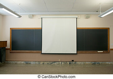 Empty Classrooms with projector screen - Empty college...