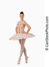 ballerine, debout, elle, pointe pieds