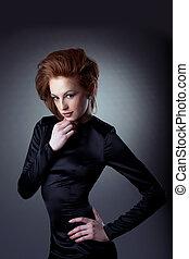 Retrato, mulher, moda, jovem