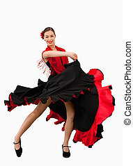 Dancing woman against a white background