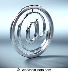 metal, símbolo, dentro, círculo, azul, Plano...