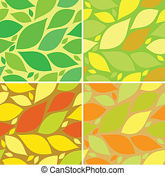 seamless pattern with leafs, autumn and summer background