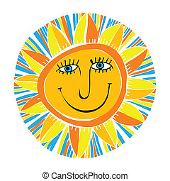 abstract smiling sun - vector abstract smiling sun
