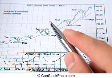 Hand with pen with stock chart - Hand holding pen on stock...