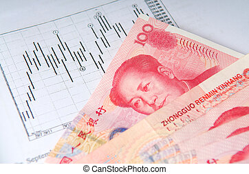 Chinese money with stock chart - Chinese money currency yuan...