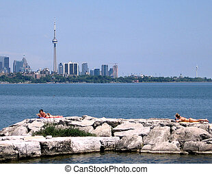 Toronto Lake plage on the rocks 2009 - Plage on the rocks of...